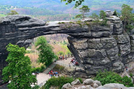 view of the Great Pravcice Gate, a unique rock formation in the Decin Highlands, Czech Republic