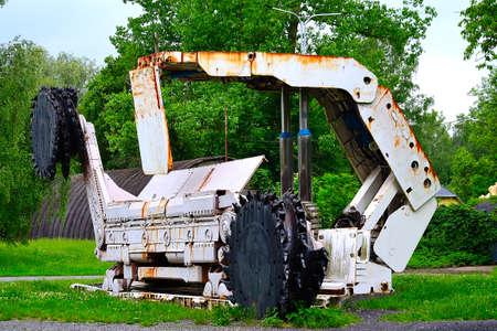 view of an old mining machine from a deep black coal mine, Landek, Ostrava, Czech Republic