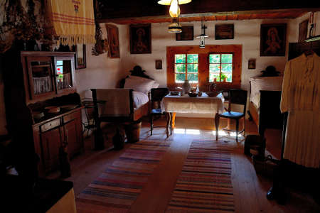 view of a room of a village building corresponding to the lifestyle of the 19th century and the first half of the 20th century, Slovakia