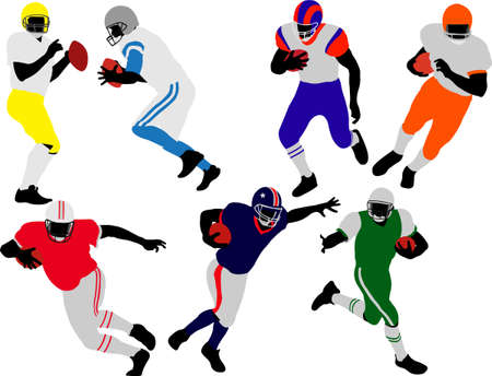touchdown: american football player vector Illustration