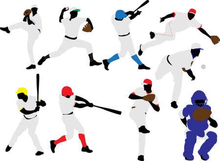 batters: baseball players vector
