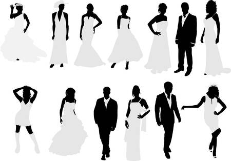 brides and grooms collection silhouettes Illustration