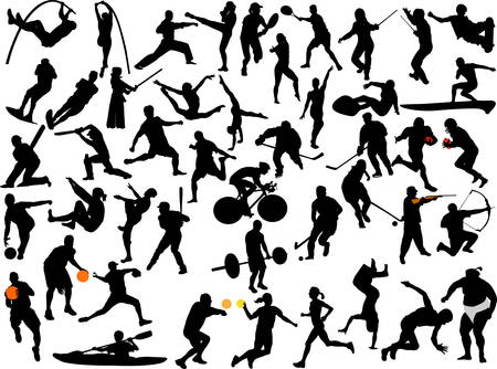 large collection of athletes silhouette Vector