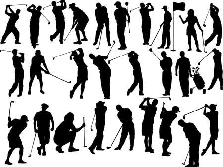 collection of golfers silhouettes Vector
