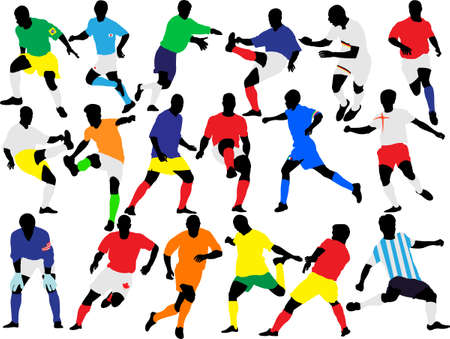 soccer players collection vector Stock Illustratie