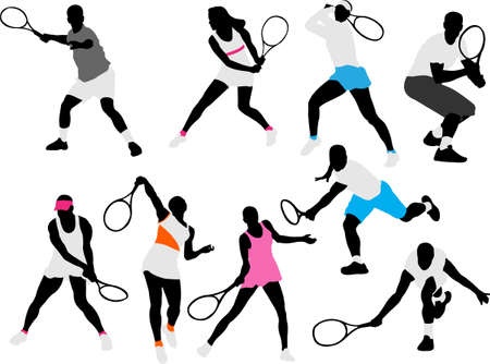tennis serve: tennis players silhouettes Illustration