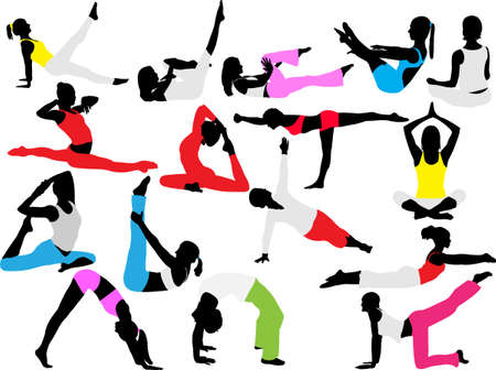 yoga and pilates collection silhouettes Vector