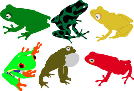 hopping: frogs vector Illustration