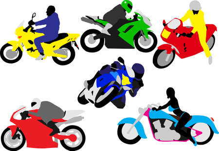 motorcycle riders silhouette Stock Vector - 5003940