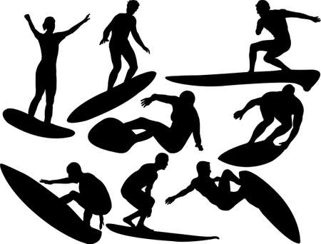 surfers collection silhouettes Vector