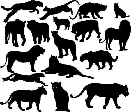 silueta tigre: gatos monteses siluetas Vectores