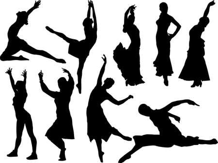 dance women silhouette vector Vector
