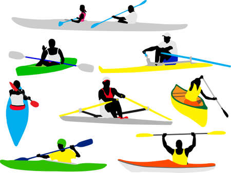 canoe and kayak rowers silhouette Vector