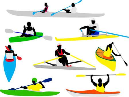 kayak: Kano en kajak roeiers silhouet