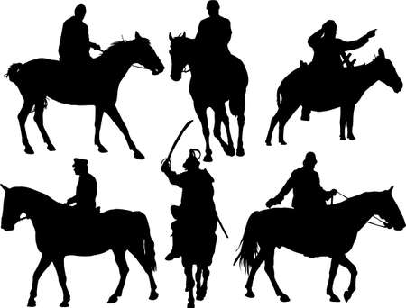 donkey tail: horsriders silhouettes Vettoriali