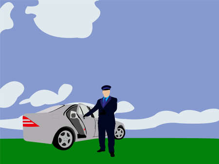 happy driver: limo driver vector
