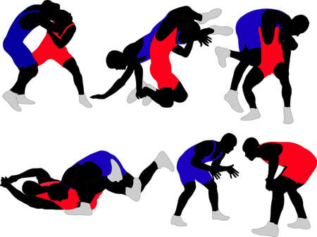 ray trace: wrestlers silhouette Illustration