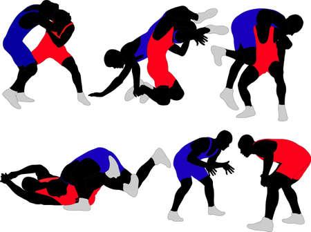 wrestling: wrestlers silhouette Illustration