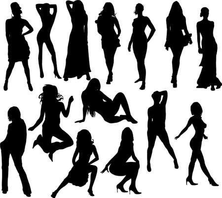 girls collection silhouettes Vector