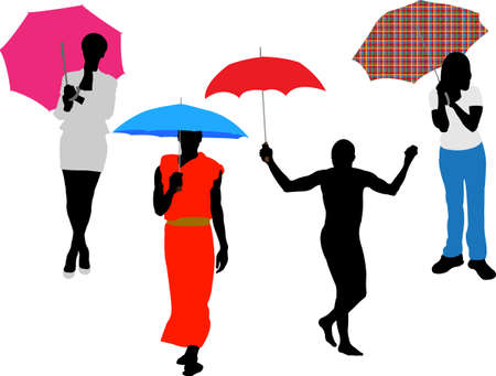 people with umbrella vector Stock Vector - 5355103