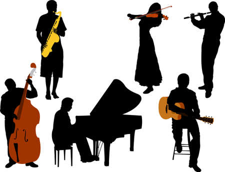 piano roll: musicians silhouette vector