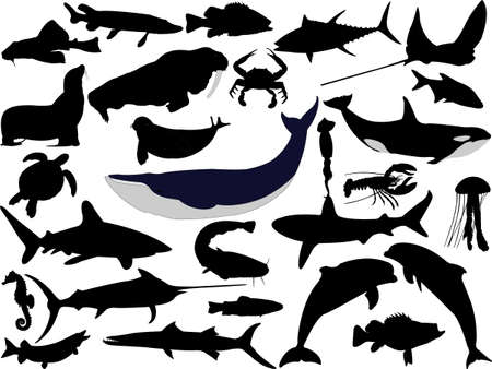 collection of aquatic wildlife vector silhouettes Vector