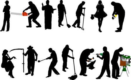 personas en siluetas de trabajo Ilustración de vector