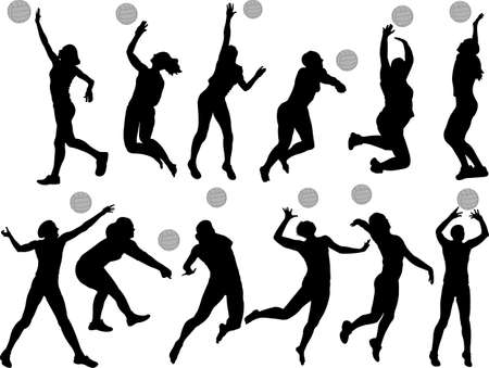 pallavolo: pallavolo ragazze insieme sagome