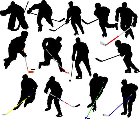 hockey players vector silhouettes Vector