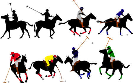 polo players vector silhouettes Vector