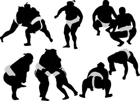 grappling: sumo wrestlers silhouettes Illustration