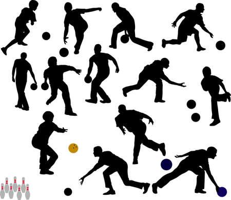 quilles: bowling vecteur silhouettes de personnes.