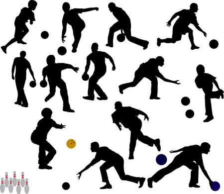 bowling: people bowling vector silhouettes