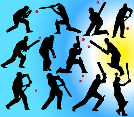 batsman: cricket players silhouettes