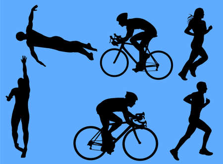 female athletes: triathlon vector silhouettes