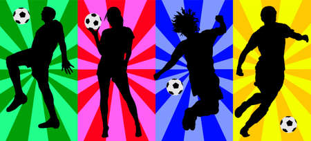 soccer players vector silhouettes Stock Illustratie