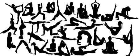 yoga 2 collection of silhouettes Vector