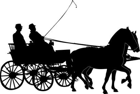 hitched: hors and carriage