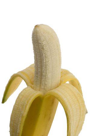 peeled banana: peeled banana on white