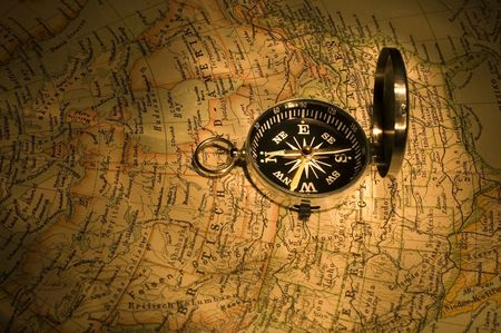compass on map close-up Stock Photo