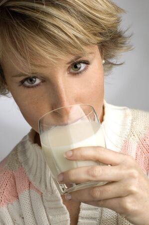 young women drinking milk Stock Photo - 593554