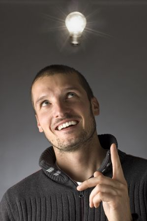 man portrait with bulb over his hed