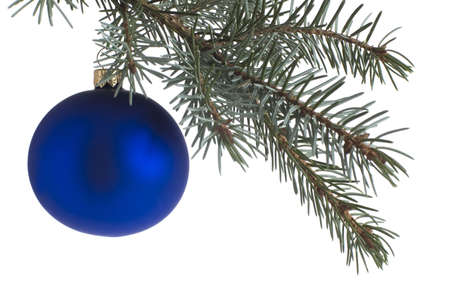 blue christmas ball on branch isolated photo
