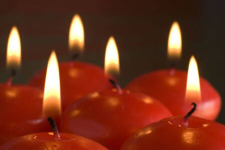 red candles assorted close up shoot Stock Photo - 616104