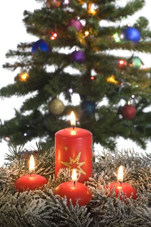 red candles assorted in frot of christmas tree photo