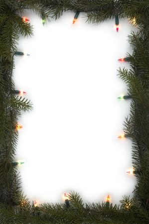 christmas frame made from tree branches and lights Stock Photo - 616113