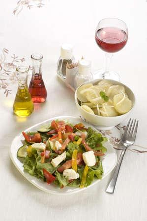 healty: healty platesl of fresh potato salad and cheese salad
