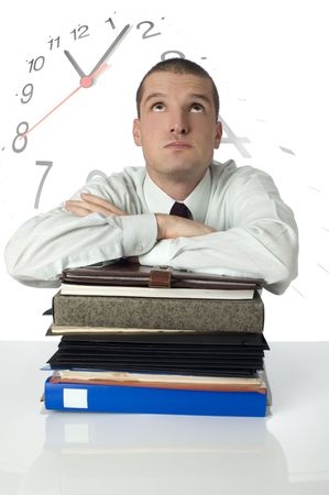 preoccupation: businessman with too many files and too little time concept Stock Photo