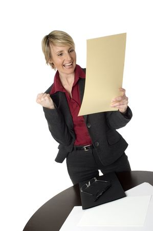 business women happy expression on white close up Stock Photo - 688620