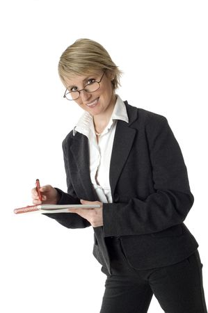 business woman writing and smiling on white Stock Photo - 688623